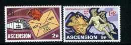 ASCENSION, 1974, Mint Never Hinged Stamp(s), U.P.U., 179-180, M2052 - Ascension