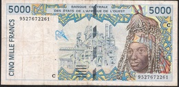 W.A.S. BURKINA FASO P313Cd 5000 FRANCS (19)95 1995  FINE NO P.h. ! - Burkina Faso