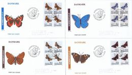 Denmark 1993; Butterflies; Set Of 4, Both Single And Block Of 4 On FDC. - FDC