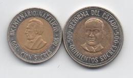 Equateur : Lot De 2 Pièces BIMETAL : 100 Sucres 1995 & 500 Sucres 1995 - Ecuador