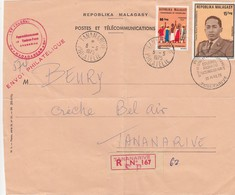 DEVANT DE LETTRE MADAGASCAR. RECOMMANDÉ TANANARIVE. PREMIER JOUR. COLONEL RICHARD RATSIMANDRAVA 25 AVRIL 75 - Madagascar (1960-...)