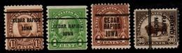 "USA Precancel Vorausentwertung Preo, Locals ""CEDAR RAPIDS"" (IOWA) 4 Différents. - United States"