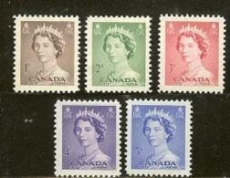 CANADA, 1953, Mint Never Hinged Stamp(s), QE II, Michel 277-281, M5421 - 1952-.... Reign Of Elizabeth II