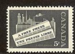 CANADA, 1958, Mint Never Hinged Stamp(s), A Free Press, Michel 322, M5456 - 1952-.... Reign Of Elizabeth II