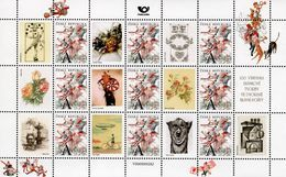 Czech Republic - 2018 - Flying Post Office - 100th Stamp Design Presentation - Stamp Sheet With Personalized Coupons - Ongebruikt