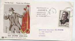 JAURES (Yv. N° 1217) 1er Jour; Flamme  SECAP Concordante  CASTRES / 1959 - 1950-1959