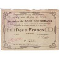 62860 - INCHY EN ARTOIS - 2 FRANCS 14.03.1915 - TTB - 1871-1952 Circulated During XXth