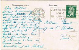 O.MEC FLIER PARIS XVIII JEUX OLYMPIQUES PARIS 1924 SUR CPA - Marcophilie (Lettres)