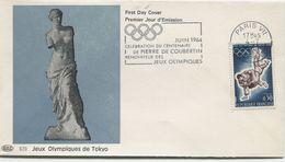 Jeux Olympiques De TOKYO (Yv. N° 1428) 1er Jour; Flamme  SECAP Concordante PARIS  / 1964 - FDC