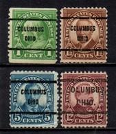 """USA Precancel Vorausentwertung Preo, Locals """"COLOMBUS"""" (OHIO) 4 Différents. - Preobliterati"""