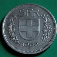 5 Francs Suisse 1968 Bon état - Suisse