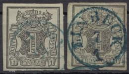 """Mi-Nr. 2, 2 Vollrandige Werte 1x Zentr. K1 """"Einbeck"""", Versch. Papierfarben, O - Hannover"""