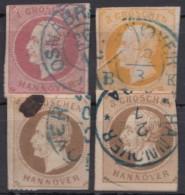 """4 Werte """"Georg V"""", Untersch. Erhaltung, O - Hannover"""