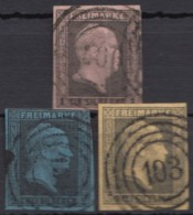 """Mi-Nr. 2/4, """"Wilhelm IV"""", 3 Versch. Werte, O - Preussen"""