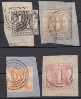 4 Versch. Werte, Je Auf Briefstück - Thurn Und Taxis