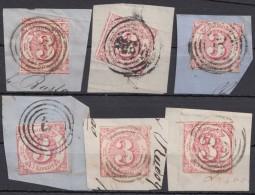 Mi-Nr. 32,42, 6 Briefstücke - Thurn Und Taxis