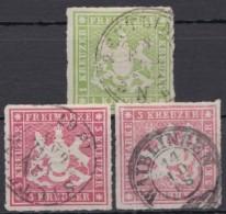 Mi-Nr. 30/1, 3 Werte, Mi-Nr. 31 Mit 2 Versch. Farben, O - Wuerttemberg