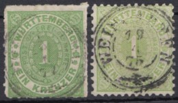 Mi-Nr. 36, 43, 1 Kreuzer Grün, Durchstochen Und Gezähnt, Je Zentr. Stempel, O - Wuerttemberg
