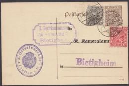 "GS, Mi-Nr. DP 42/10, Zudruck ""Kameralamt"", Zfr. ""Lauffen"", 31.12.18 - Wuerttemberg"