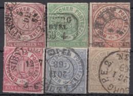 Mi-Nr. 1/6, 1. Ausgabe Kplt., O - Norddeutscher Postbezirk