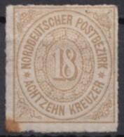 Mi-Nr. 11, 18 Kreuzer, Falz, Kl. Brauner Fleck An Unterer Ecke, * - Norddeutscher Postbezirk
