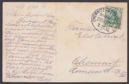 """Bahnpost, """"Chemnitz- Wechselburg"""", Farbige AK, 1912 - Briefe U. Dokumente"""