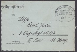 "Bahnpost, ""Leipzig- Meuselwitz"", Feldpost, 1917 - Deutschland"