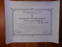 Nijverheisschool Te Gent 1935 Getuigschrift Van Bekwaamheid  Van Geirt Paul Geboren Dendermonde 1910 43,5cm Op 56cm - Diplômes & Bulletins Scolaires