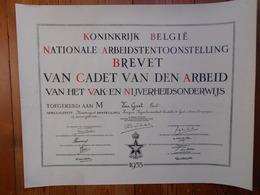 Nijverheisschool Te Gent 1935 Brevet Cadet Van Den Arbeid Van Geirt Paul Geboren Dendermonde 1910 46,5cm Op 59cm - Diplomi E Pagelle