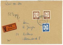 Wertbrief 500 DM Hildesheim - Koblenz 1964 - BRD