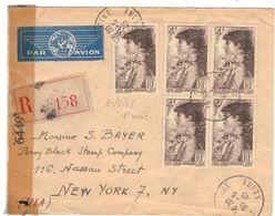 F767 - SARAH BERNHARD 738 5 EX SUR LETTRE 30-5-45  RECO AVION X USA TARIF 4+4+12 - Storia Postale