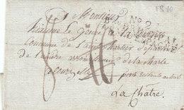 "Spain France 1810 Entire Letter Napoleonic War ""No. 2 Bau PRINCIPAL ARM. D'ESPAGNE"" Talavera To La Chartre (q166) - Storia Postale"