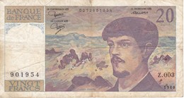 BILLETE DE FRANCIA DE 20 FRANCS DEL AÑO 1980 SERIE Z.003  (BANKNOTE) CLAUDE DEBUSSY - 1962-1997 ''Francs''