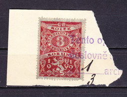 Dokumentenstueck, Tschechoslowakei, Gebuehrenmarke, Loewe, 3 Koruny, 1919 (49346) - Gebührenstempel, Impoststempel