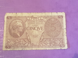 Italie 5 Lire 1944 P31c Circulé - Italia – 5 Lire