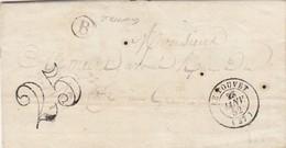LETTRE.  22 1 52. ISERE. LE TOUVET. BOITE RURALE B = ST BERNARD. POUR GRENOBLE - 1849-1876: Période Classique