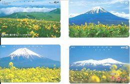 4 Télécartes Japon Japan Montagne Mountain Fleurs Fleurs Flower  (D 521) - Montagnes