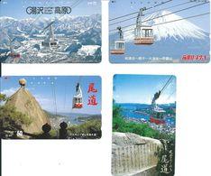 4 Télécartes Japon Japan Téléphérique Montagne Mountain (D 523) - Montagnes