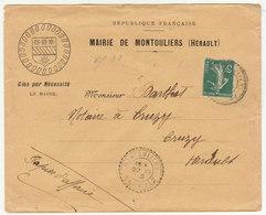 ESC En Tête Mairie De Montouliers (Hérault) +  Blason, 5c Semeuse O. FB Montouliers 1915 - Marcofilie (Brieven)
