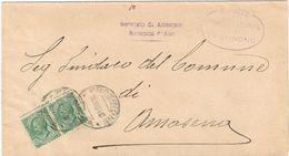 X1535 5 Centesimi Leoni X 2 - 1924 Viaggiata Da Frosinone A Amaseno (Frosinone) - Anagrafe Del Comune Di Frosinone - Storia Postale
