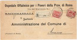 X1536 10 Centesimi Leoni + 60 Cent Micheletti - 1926 Raccomandata Da Roma A Amaseno (Frosinone) - Storia Postale