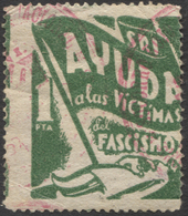 VIÑETA POLÍTICA REPUBLICANA DEL SRI - AYUDA A LAS VICTIMAS DEL FASCISMO - Spanish Civil War Labels