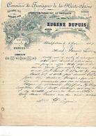 Facture / 70 Haute Saône BLONDEFONTAINE / Eugène DUPUIS / 1909 / Commerce Fromage Cancoillotte Beurre Gruyère - Alimentaire