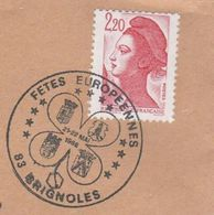 1988 COVER BRIGNOLES EUROPEAN FETE France Stamps Heraldic Pmk - France