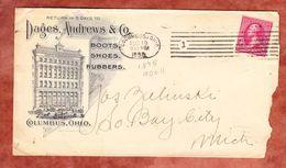 Illustrierter Umschlag, Dages Andrews & Co Boston Rubber Shoe, EF Washington, Columbus Nach Bay City 1898 (49357) - 1847-99 General Issues