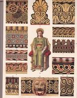 L'ORNEMENT GREC. TERRES CUITES COLORIEES.-ART HISTORY LAMINA SHEET PLANCHE-BLEUP - Posters