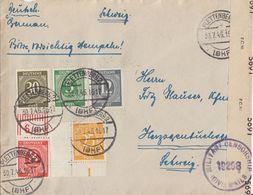 Gemeina. Brief Mif Minr.915,917 OR,920,927 UER,928 Plettenberg 30.7.46 Gel. In Schweiz Zensur - Gemeinschaftsausgaben