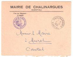 4507 CHALINARGUES Cantal Lettre EN FRANCHISE Entête Mairie Ob 1955 Recette Distribution Lautier B7 - Marcophilie (Lettres)