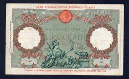 Banconota Italia Africa Orientale 100 Lire 14/6/1938 - [ 1] …-1946 : Kingdom