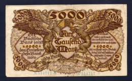 Banconota Germania 5000 Marchi 1922 - [ 3] 1918-1933 : Repubblica  Di Weimar